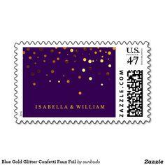 Blue Gold Glitter Confetti Faux Foil Stamp