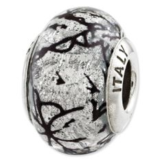Sterling Silver Reflections Grey w/Black Lines Italian Murano Glass Bead