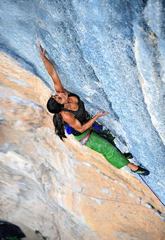Daila Ojeda on Mind Control (5.14c), Oliana, Spain. Photo by Keith Ladzinski.