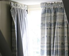 A customer case study near Bath demonstrates how dormer window curtains can make the perfect window dressing - the Moghul Blog Small Curtains, Bay Window Curtains, Attic Window, Curtains With Blinds, Valances, Bedroom Loft, Farm Bedroom, Blue Bedroom, Window Rods