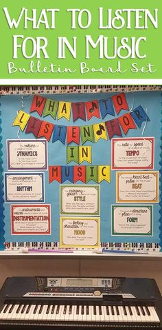 My all time favorite music bulletin board. What to Listen for in Music classroom decor set!