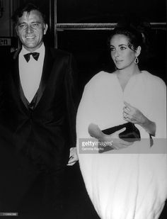 Actress Elizabeth Taylor with actor and husband Richard Burton in the 1960's in the USA.