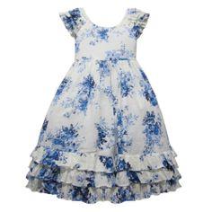Clip Dot Floral Cap Sleeve Toddler Dress