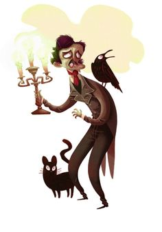 Edgar Allan Poe with a raven and black cat