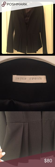 Paper Crown Pleated Blazer! Brand New, Never Worn! Beautiful structured pleated (front and back) blazer with front clip closure. Black, size XS. From Lauren Conrad's runway collection. Bought awhile ago at a boutique in Boston and it's just too tight in the arms to wear comfortably. Great deal!! Paper Crown Jackets & Coats Blazers