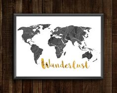 Items similar to Wanderlust World Map World Map Printable, Printable Wall Art, Etsy Handmade, Art World, Art Boards, Flags, Canvas Wall Art, Cities, Wanderlust