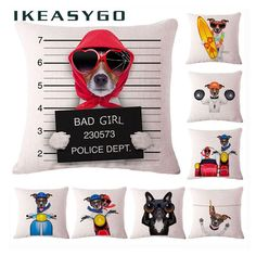 Colorful Dog Prints Pillow Cases