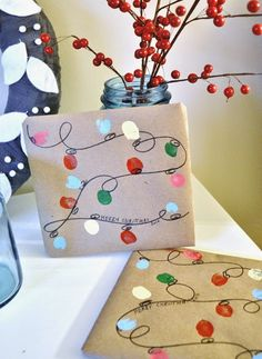cute holiday light thumbprint gift paper DIY