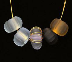 Alex Stanyon, Necklace, Bullseye casting glass & 24K gp-wire