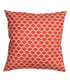 Cushion cover in organic woven cotton fabric with a printed pattern and  concealed zip 8b238d7357af1