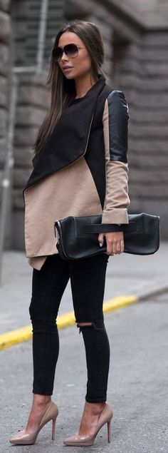 Johanna Olsson is wearing a camel and black jacket from River Island, nude shoes from Christian Loboutin, black jeans from Asos and the bag is from 3.1 Philip Lim