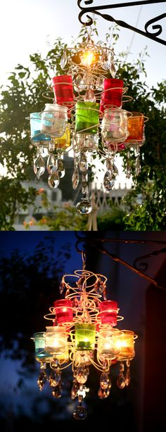 Here's a DIY project that I did for our balcony garden - a tea light garden chandelier made from a discarded wire cupcake stand that I got from the thrift shop. The glass holders are a mix of baby food jars (again from the thrift shop) and some colored glass holders from IKEA bought years ago. Spray painting the wires white gives it more definition than leaving it in its original gray color. The crystals by the way were salvaged from a nonworking/unused chandelier.