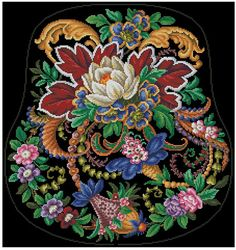 Fantasy floral pattern scheme for embroidery in от MagicOfNeedle