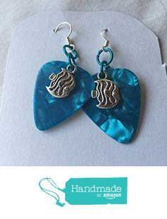 Shiny Teal Guitar Pick with Tibetan Silver Tone Tropical Fish Charm Earrings from Southern Women Crafts https://www.amazon.com/dp/B06XT92GGK/ref=hnd_sw_r_pi_dp_hsd1ybJMSAST7 #handmadeatamazon