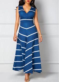 Printed V Neck Cutout Back Navy Maxi Dress