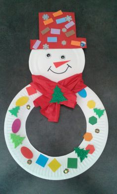 Snowman with a cardboard plate! - - Handwerk Snowman with a cardboard plate! Snowman with a cardboard plate! – Snowman with a cardboard plate! Christmas Crafts For Kids To Make, Preschool Christmas, Christmas Activities, Christmas Projects, Kids Christmas, Christmas Trees, Preschool Winter, Christmas Christmas, Snow Crafts