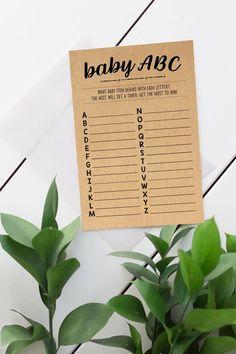 Baby Shower ABCs, Baby ABCs Kraft Paper Shower Game, Baby Shower word game, Gender Neutral, Baby Shower Games, Woodland, Rustic, Kraft