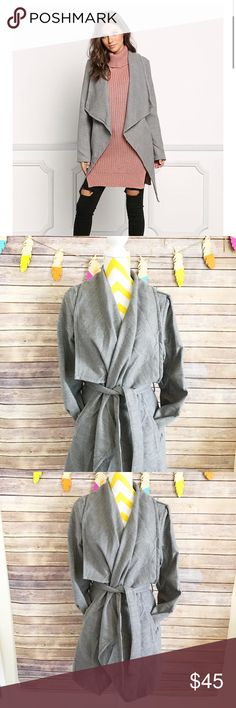 Grey fold over waterfall drape cinch trench coat Beautiful and feels very soft,  textured felt coat. Large fold over lapel and tie waist. Long sleeve, side slip pockets. 100% polyester Love Culture Jackets & Coats