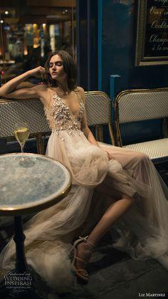 liz martinez 2018 bridal sleeveless sheer strap v neck heavily embellished bodice tulle skirt romantic sexy soft a line wedding dress (12) zv