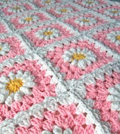 New pink daisy blanket almost complete
