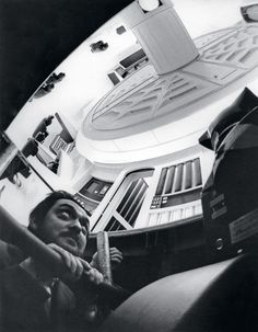 """Stanley Kubrick on the set of """"2001: A Space Odyssey"""" 1968"""