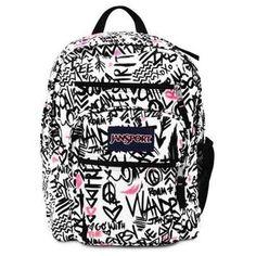 Jansport Big Student Backpack Black Pink Pansy Wanderlust Bag School Book Girl #Jansport #Backpack #OrlandoTrend