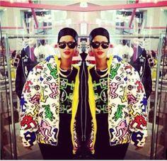 Colourful clothing, bomber jacket