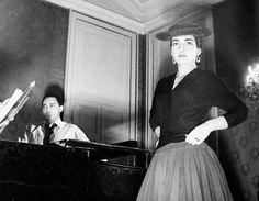 """Mario Del Monaco and Maria Callas rehearsing their roles in """"Norma"""" (1955-1956)."""
