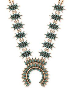 Lucky Brand Gold-Tone Imitation Turquoise Stone Statement Necklace | macys.com