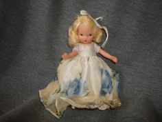 "NASB NANCY ANN Storybook Doll Season Series #91 Summer ~ Blue Rose Organza Dress ~ 5-1/2"" Bisque Doll  Jointed Legs by PastPossessionsOnly on Etsy"