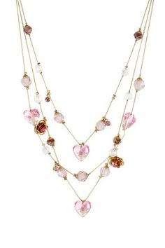 Flower Heart Bead Illusion Necklace
