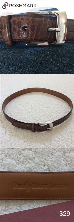 """Polo RL Belt Polo Ralph Lauren belt in brown crocodile embossed leather. Silver buckle with """"RL"""" on it. Size L (will fit up to size 10). EUC Polo by Ralph Lauren Accessories Belts"""