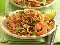 Pad Thai with Shrimp-Making this tomorrow night. Except I use cellophane rice noodles...It tastes good and is surprising easy to make.