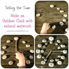 Telling Time: Outdoor Clock made with Natural Materials (from Sun Hats Wellie Boots) Outdoor Activities For Kids, Outdoor Learning, Learning Activities, Kids Learning, Childcare Activities, Learning Spaces, Outdoor Clock, Teaching Time, Teaching Ideas