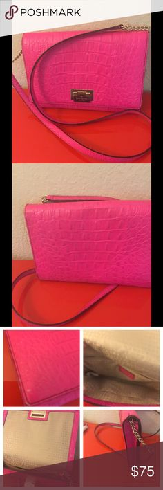 Kate Spade pink shoulder bag Super cute excellent condition  Clean and leather conditioned  I0.5 x 7 x 1.5 Long strap cross body kate spade Bags Crossbody Bags