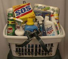 Great idea for house warming, bridal shower, etc...  I give high school grads a laundry basket with the essential towels, laundry detergent/softener, stain stick, etc...