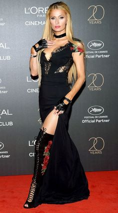 672fd15d9789 PARIS HILTON - The heiress' Cannes takeover continues in a sexy black lace  Philipp Plein gown plus matching rose-embroidered over-the-knee boots at  the ...