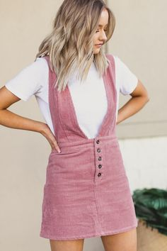 Spring 2018 trend: corduroy button up dress paired with a white tee underneath! #fashion #style #outfits