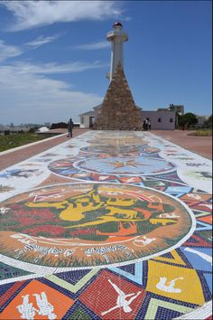 Lighthouse and mosiac at the Donkin Reserve in Port Elizabeth, South Africa