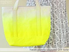 DIY Neon Fashion: Neon Dipped DIY Tote Bag