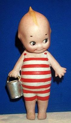 RARE Antique Bisque Kewpie in Bathing Suit Down at Seashore O'Neill Germany.