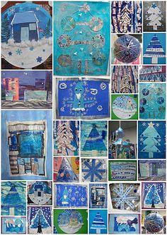 noel bleu Winter Art Projects, Blue Dream, Time Art, Art Plastique, Winter Time, Kids Christmas, Holiday Crafts, Art For Kids, Gallery Wall
