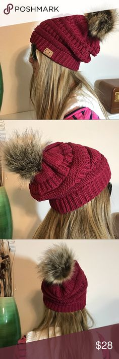 Slouchy Wine Knit Beanie Faux Fur Pom Pom Lined Slouchy Wine Knit Crochet Beanie Faux Fur Pom Pom Faux Fur Lined. Super stretchy and soft. New in package. High quality. C.C. Accessories Hats