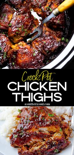 Chicken Thighs cooked in the crock pot make a mouthwatering recipe that's perfect for a busy weeknight or lazy weekends! Juicy chicken coated in a thick rich sauce flavored with garlic, honey, and soy sauce is a slow cooker hit. Crock Pot Slow Cooker, Crock Pot Cooking, Slow Cooker Recipes, Crockpot Recipes, Cooking Recipes, Easy Cooking, Yummy Chicken Recipes, Chicken Thigh Recipes, Yum Yum Chicken