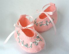 Pink Embroidered Baby Booties Wool Felt by HeartStringsHandmade, $28.00