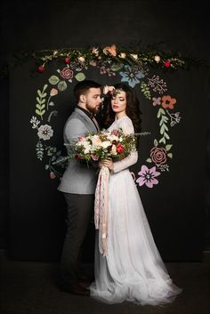 Vintage Wedding Inspiration /  floral backdrop / photobooth