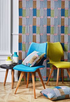 Prestigious Textiles, Modern Muse, Blue Colour Palette, Textile Fabrics, Modern Embroidery, Geometric Shapes, Maui, Yorkshire, Dining Chairs