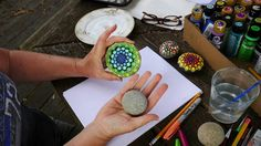 How to paint Rock Mandalas. Her videos are simple, precise and  to the point. Pleasant voice- very good basic videos. I really enjoyed these. I hope she continues to make more!