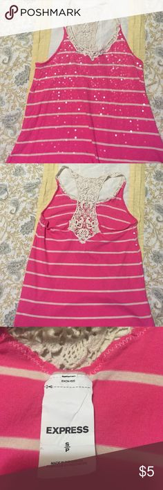 Tank top Lace back with sequence in front Express Tops Tank Tops