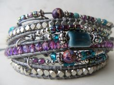 Leather wrap bracelet #lovely colours # tripple wrap; https://www.etsy.com/nl/listing/171238967/leather-wrap-bracelet-beaded-three-wrap